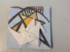Origami crane tile