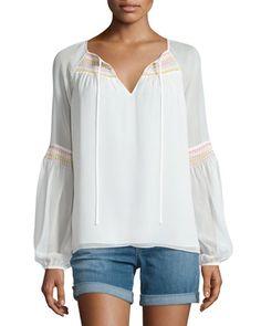 TC6VJ Diane von Furstenberg Sammy Embroidered Long-Sleeve Silk Top, Ivory
