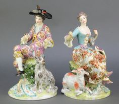 """Lot 7, A pair of Samson figures of a seated lady with a lamb at her feet and a gentleman with a dog at his feet, on rococo bases 11"""", est £80-120"""
