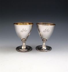 A pair of early century colonial silver goblets Glass Furniture, Silver Spoons, Japanese Painting, Wallis, Tribal Art, Makers Mark, Asian Art, Rugs On Carpet, Colonial