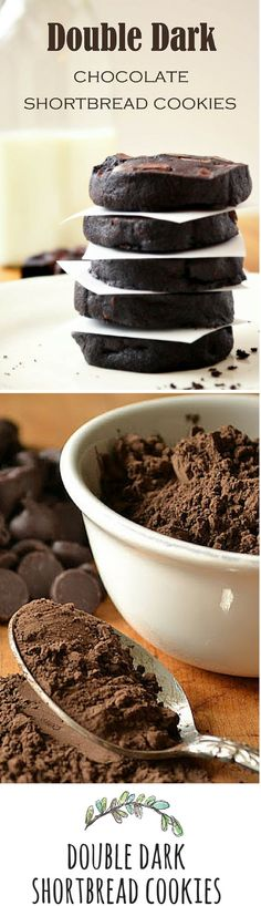 Dark Chocolate Shortbread Cookies The cookie for serious chocolate lovers. I needed this!The cookie for serious chocolate lovers. I needed this! Cookie Desserts, Just Desserts, Cookie Recipes, Delicious Desserts, Dessert Recipes, Yummy Food, Bar Recipes, Shortbread Recipes, Cookie Cups
