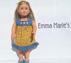 Denim and Yellow Plaid Cotton Dress for American Girl or