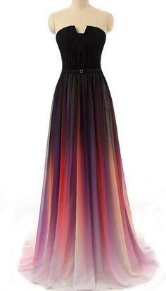Gradient Ombre Chiffon Prom Dress Evening Dress - http://www.luulla.com/product/462615/new-cheap-gradient-ombre-chiffon-prom-dress-evening-dress-strapless-with-pleats-women-dress