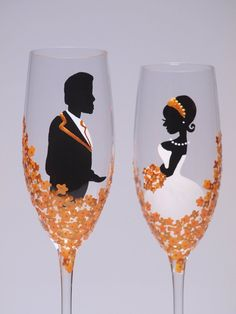 Hand painted Wedding Toasting Flutes Set of 2 Personalized Champagne glasses Groom and Bride Wedding golden yellow flowers Wedding Champagne Flutes, Wedding Glasses, Champagne Glasses, Wedding Broom, Bridesmaid Glasses, Best Man Wedding Speeches, Toasting Flutes, Wedding Toasts, Bookmarks