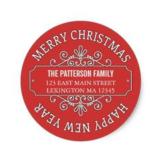 Shop Classic Contemporary Merry Christmas Label created by kat_parrella.