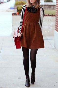 We've gone simply bananas for the Ladakh Velvet Underground Brown Corduroy Dress! A scoop neck and racerback top a skater skirt on this brown corduroy dress. Dress Outfits, Fall Outfits, Cute Outfits, Fashion Outfits, Dress Fashion, Pink Formal Dresses, Tight Dresses, Corduroy Pinafore Dress, Corduroy Skirt