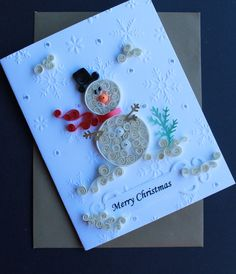 Items similar to Christmas card quilled christmas card quilled Snowman merry christmas on Etsy Paper Quilling Cards, Paper Quilling Patterns, Quilling Paper Craft, Paper Cards, Quilling Comb, Neli Quilling, Quilling Ideas, Paper Crafting, Quilling Christmas