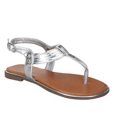 Look at this Link Silver Embellished Kerry Sandal on #zulily today!