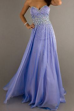 2014 Sweetheart Beaded Bodice Chiffon Prom Dress Pick Up Long Skirt.... This purple is amazing.