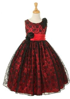 Flower Girl Dresses Red | Home » Red with Black Lace Girl Dress