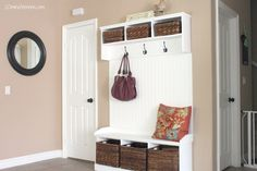 20 Minute Mom: Favorite Spaces: DIY Entryway Bench and Shelves