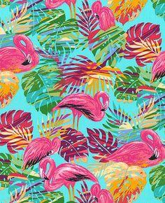 Telas de animales - Tela FQ :: flamingos & rainbow palms :: - hecho a mano por nosgustanlosretros en DaWanda
