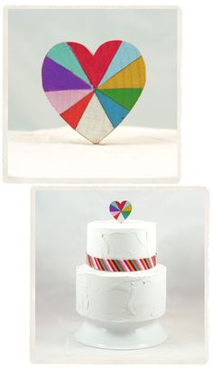 Rainbow Heart Cake Topper
