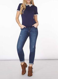 Womens Navy Crochet Collar T-Shirt- Blue