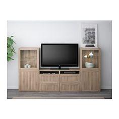 BESTÅ TV storage combination/glass doors - Hanviken/Sindvik gray stained walnut eff clear glass, drawer runner, soft-closing - IKEA
