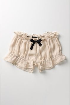 A floaty chiffon pair of bloomers from Undrest, topped with an ebony bow. Comes in neutral and black. Anthropologie.com