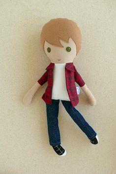 Muñeca de tela trapo chico de cabello marrón muñeca muñeca en