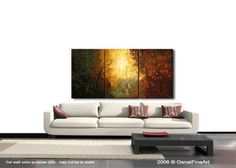 Tree Painting 60 x 30 Contemporary Blooming Tree by OsnatFineArt