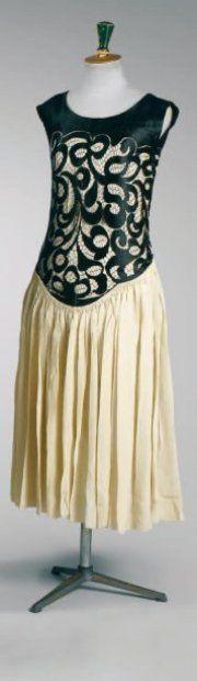 Dinner dress, Poiret, ca. 1920. Black Maresco lace over ivory crêpe de chine. From the personal wardrobe of Denise Poiret.