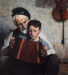 Norman Rockwell ~ grandpa teaching grandson to play accordian