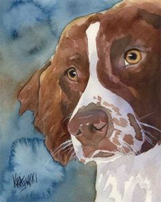 brittany spaniel art | Brittany Spaniel portrait art print modern Dog pop art bright colors ...