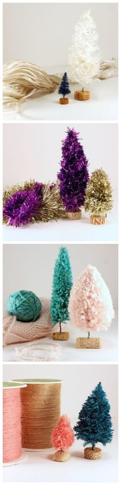 Handmade Bottle Brush Trees with Yarn, Twine, Garland, and Rope - a great use for Bonbons or scrap yarn!
