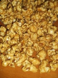 Caramel Popcorn Add in 1 tsp vanilla, 1/2 tsp baking soda and 1/2 tsp of salt after you remove from heat Bake on cookie sheet for 1 hour and stir every 20 min