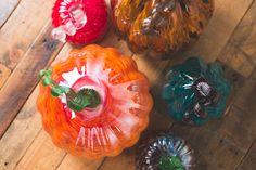 Mix & match Assorted glass pumpkins for a unique feel $12.95 - $29.95  #EB #Earthbound #GlassPumpkins #Pumpkin #Fall