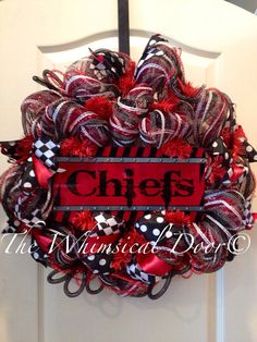 Kansas City Chiefs NFL Football Decomesh Wreath Draft Day Father's Day Polkadot Harlequin Black White Red  on Etsy, $55.00