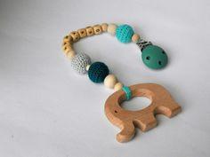 Personalized crochet baby pram elepfant mobile/stroller hanger/crochet teething toy/baby shower gift/pram decor/wooden elepfant