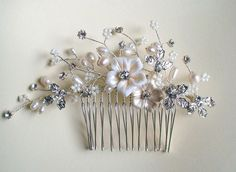 Ivory flower/ Pearl/ Rhinestone hair comb. by ShesAccessories, $45.95