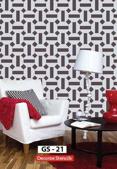 Geomatric wall stencil design Reusable wall stencil for by DecorZe, $33.00