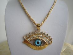 Long Necklace Gold Evil Eye Necklace Bridesmaids by PrettyDIY, $18.99