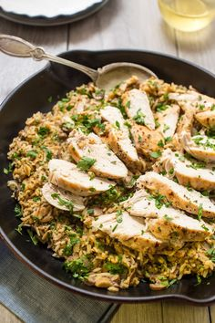 Chicken Mushroom Rice Skillet | One pan, easy and healthy weeknight meal that's full of flavor and great for lunch the next day!