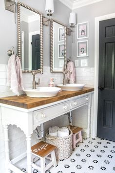 Girls' Bathroom Decor Details & Sources | Console table converted into a vanity with vessel sinks.