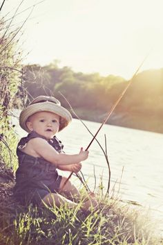 Love the entire picture from hat to outfit to kids wooden fishing pole by the lake in the perfect spot!
