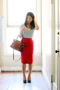 Tight Gray Pencil Skirt White Blouse Sheer Pantyhose Wide Black ...