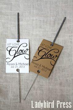 Personalized Printable Wedding Favor Sparkler Tag - PDF - DIY - Glow