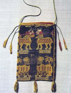 Pouch with lion pattern, 9-10th century CE, now in St. Michael Colegiate Church, Beromunster, Switzerland.