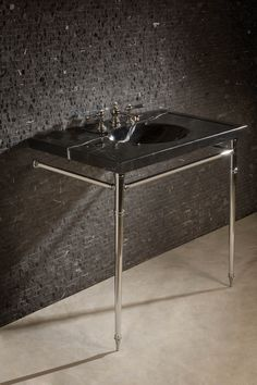 Vanities: Vintage Washbasin, No Splash, Nero Marquina, 36 inch Black Bath, Kitchen And Bath, My House, Sink, Vanity, Table, Bathrooms, Drama, Vintage