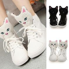 Womens Fashion Sneakers Cute Kitten Casual High Top Lace Up Cartoon Shoes Tenis Casual, Casual Sneakers, Sneakers Fashion, Casual Shoes, Moda Sneakers, Sneakers Mode, Shoes Sneakers, Black Sneakers, Platform Sneakers