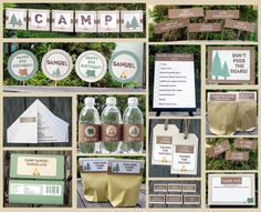 Camping Birthday Invitation & Printable party decoration
