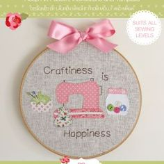 Flower Embroidery Pattern Craftiness is Happiness hoop art pattern from Molly and Mama Embroidery Hoop Crafts, Embroidery Art, Embroidery Applique, Embroidery Patterns, Flower Embroidery, Sewing Crafts, Sewing Projects, Applique Stitches, Art Template