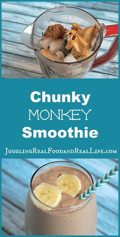 Chunky Monkey Smoothie.......Chocolate, Peanut Butter, and Banana oh my!  Sweet without any sugar.  How can that be?