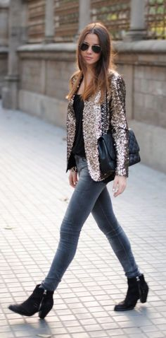 f959f609ff2 Add some glitz and glamour to a basic outfit of jeans and a t-shirt by  throwing on a sequin blazer. Zina from Fashion Vibe works a rock chic  inspired look ...