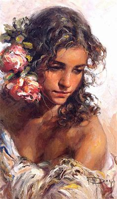 Jose Royo (Spanish, b. 1941), oil on canvas {figurative #impressionist art beautiful female head shoulders woman face portrait painting} royoart.com