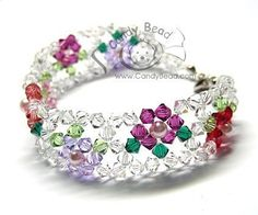 Swarovski bracelet, Multicolored Flower Crystal Bracelet