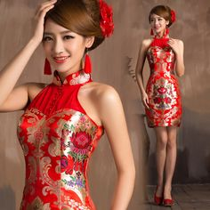 5bec5b2a0 2014 chinese style embroidery wedding cheongsam red short design evening  dress bride gown dragon and phoenix