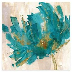 Contemporary Teal Flower I Canvas Wall Art - BedBathandBeyond.com