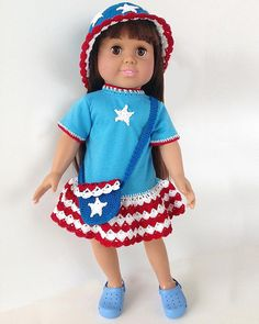 """Crochet Pattern available here:   http://www.maggiescrochet.com/products/little-miss-liberty-18-doll More 18"""" doll designs and T-shirts here: http://www.maggiescrochet.com/search?q=t-shirt Great for 4th of July, Memorial Day, Independence Day and summer.  Picture of Little Miss Liberty 18"""" Doll T-Shirt Dress, Hat & Purse Crochet Pattern"""